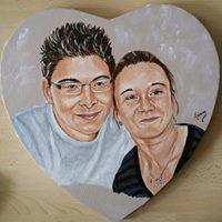 portrait couple , peinture acrylique sur toile coeur