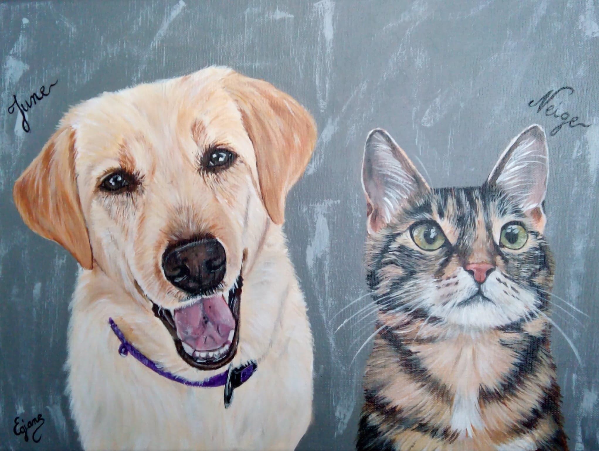 labrador et chat européen , peinture acrylique sur toile