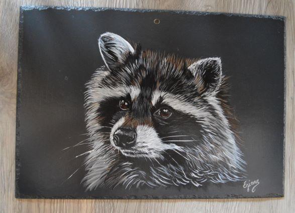raton laveur, acrylique sur ardoise