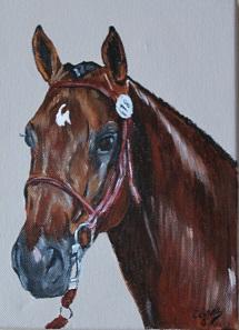 cheval, acrylique sur ardoise extérieure