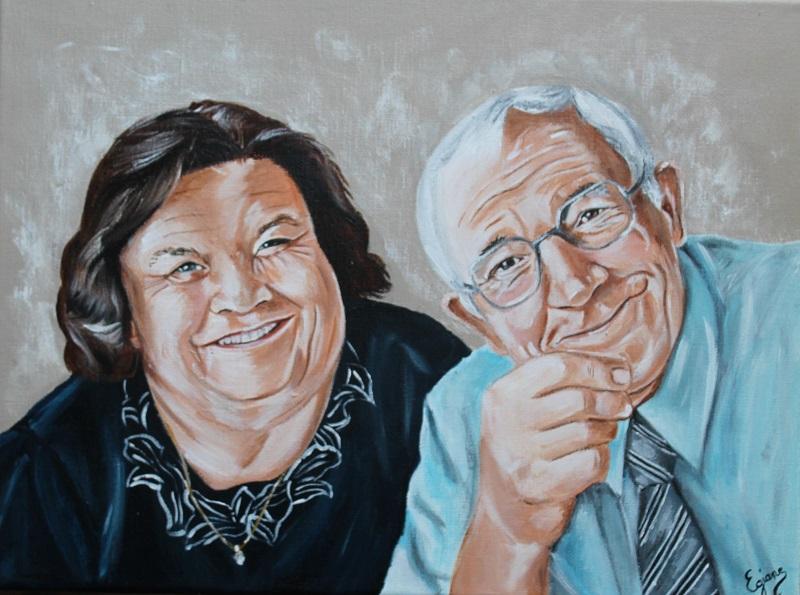 portrait de couple, peinture acrylique sur toile