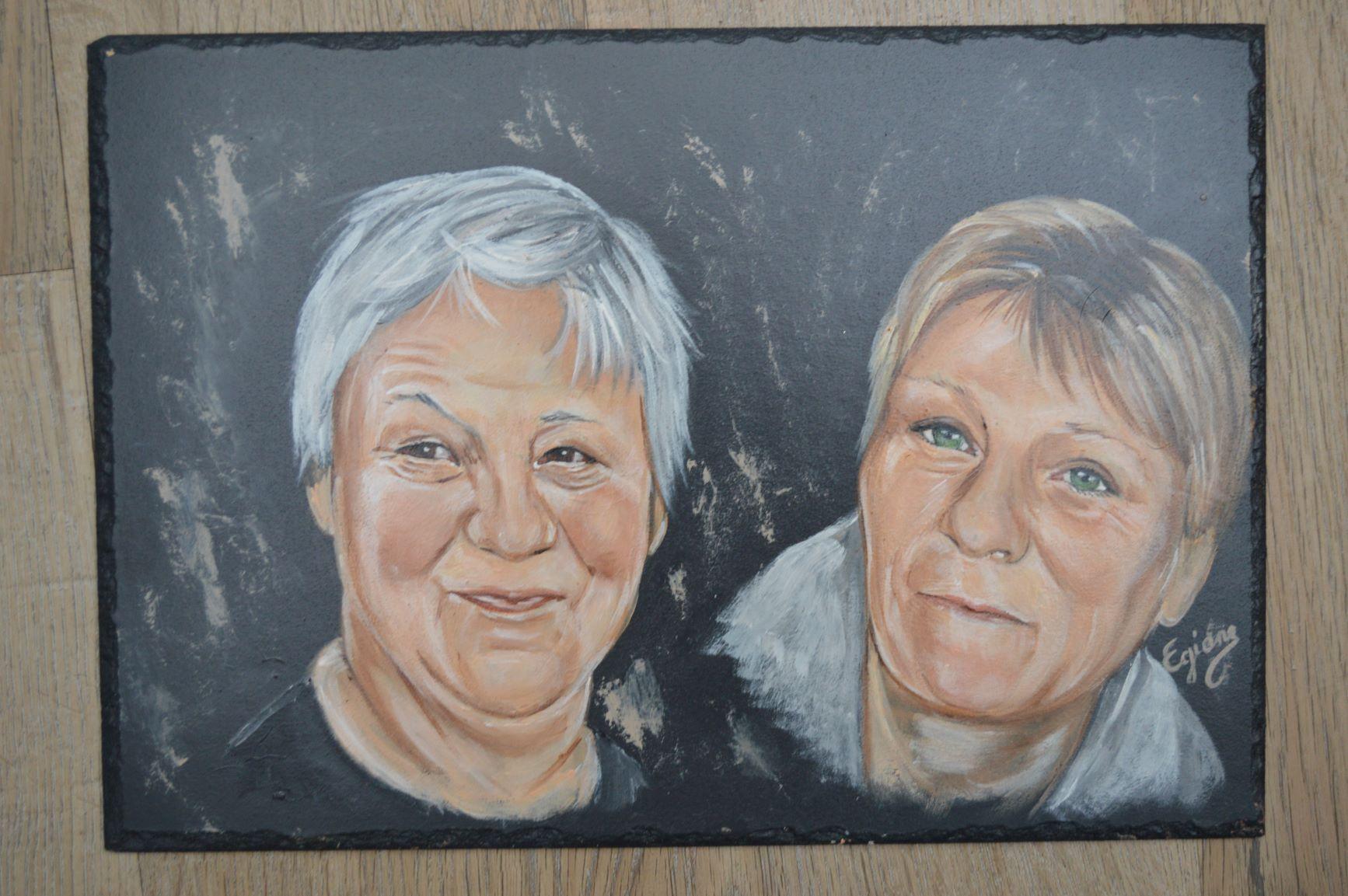 portrait peinture acrylique sur ardoise