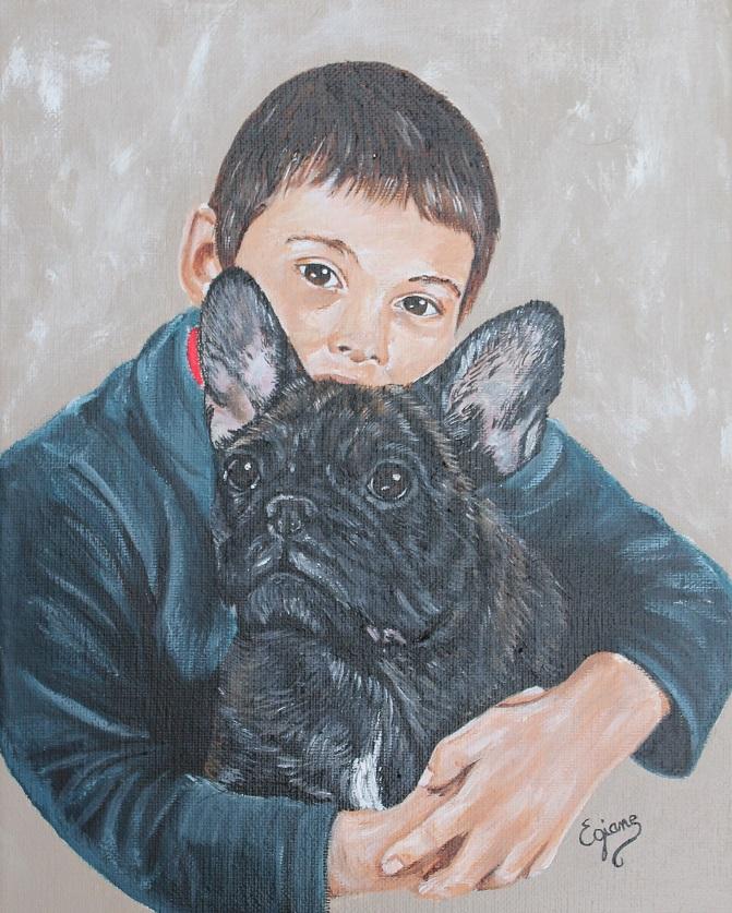 complicité, enfant et bouledogue français, peinture acrylique sur toile