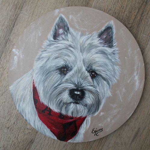 peinture acrylique sur toile ronde