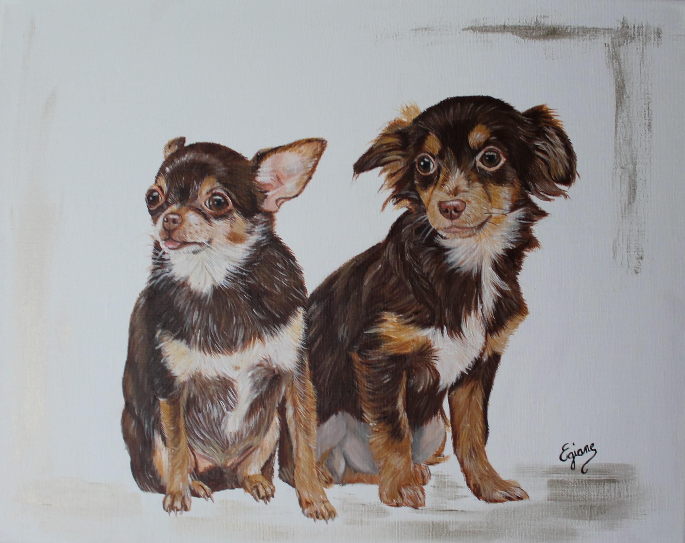 Chihuahuas, peinture acrylique sur toile