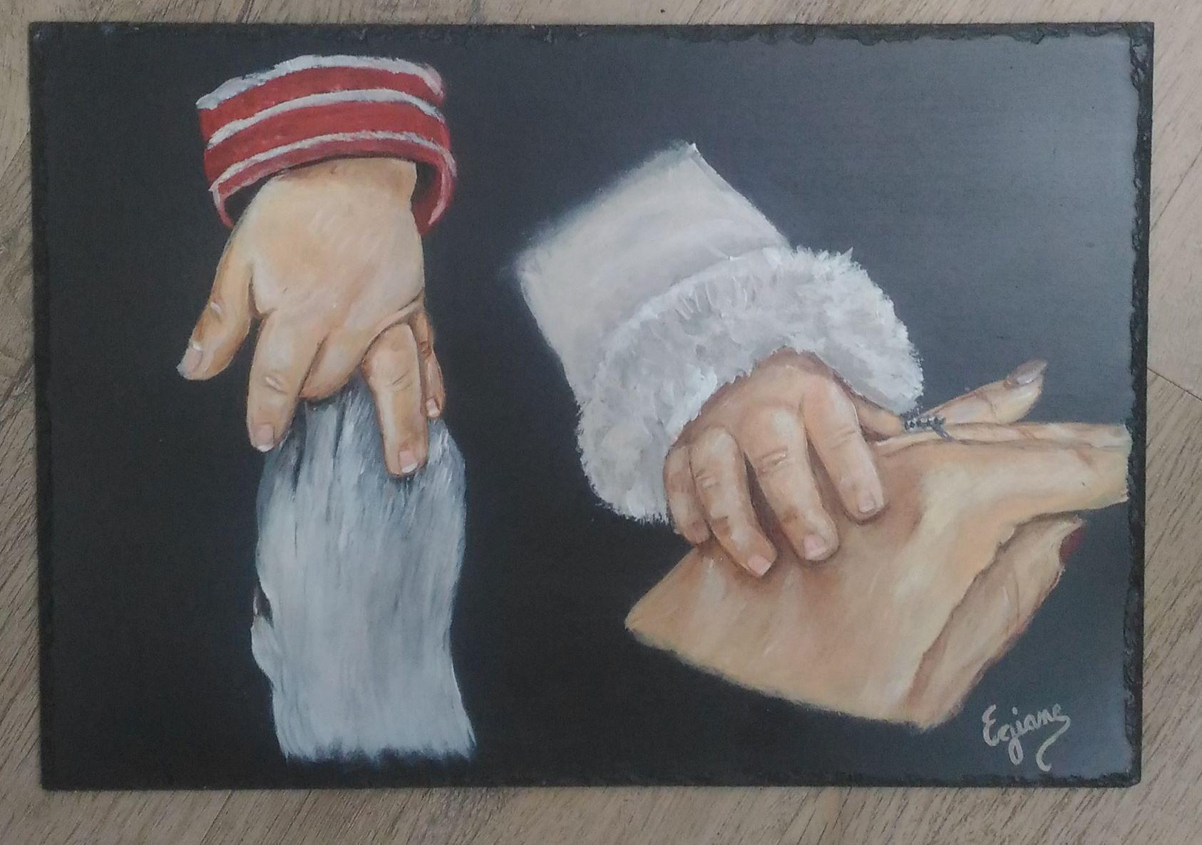 complicité, peinture acrylique sur ardoise