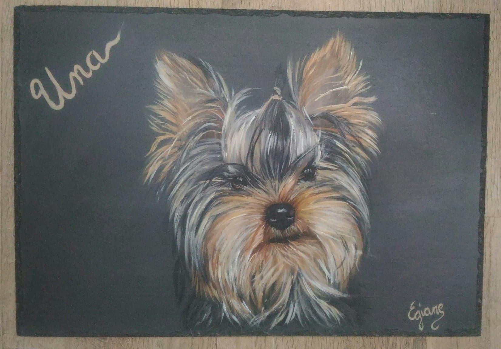 Yorkshire terrier, peinture acrylique sur ardoise