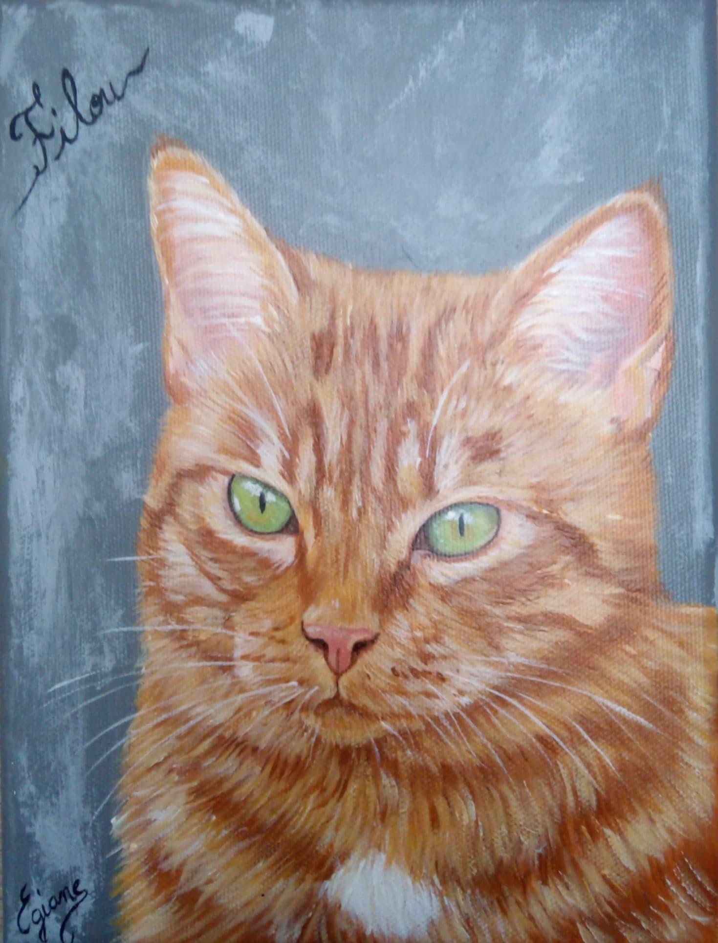 chat roux européen, peinture acrylique sur toile