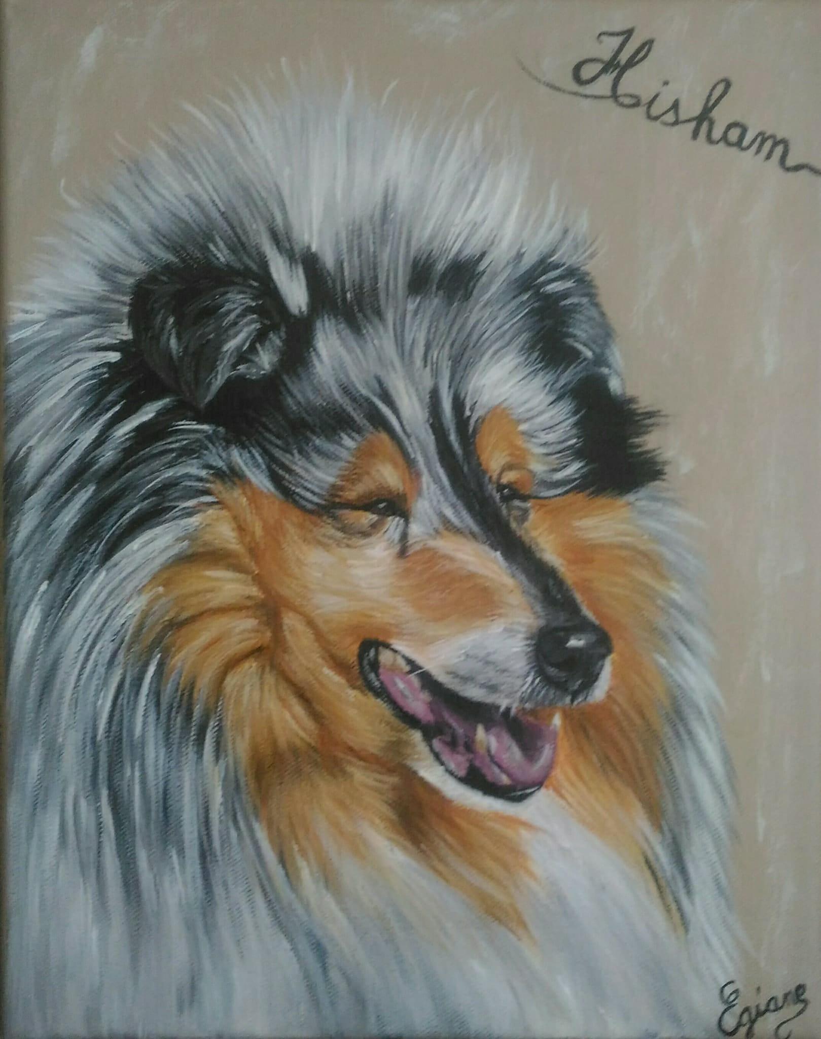 colley à poils longs, peinture acrylique sur toile