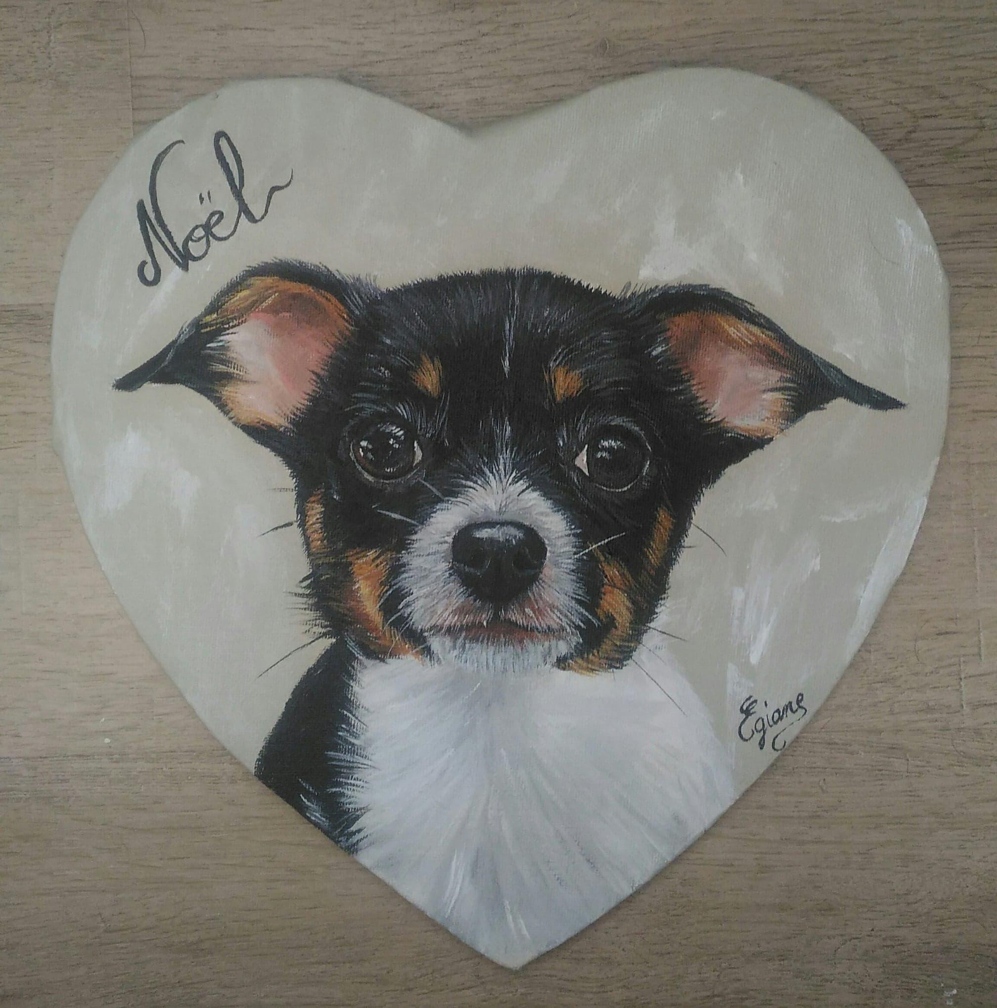 chihuhua peinture acrylique sur toile coeur