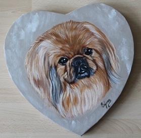 pékinois , Peinture acrylique sur toile coeur