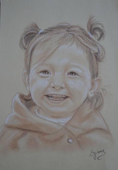 portrait de petite fille craie sépia sur papier